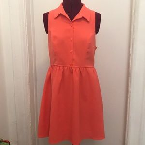 Peach sleeveless and collared summer dress